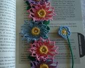 Valentines Gift Crochet Flowers Bead Bookmark