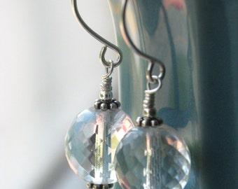 Crystal Clear Firepolished Czech Glass Earrings in Sterling Silver