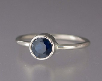 Blue Sapphire Engagement Ring in 14k White, Yellow or Rose Gold - 5mm Natural Grade AA Sapphire