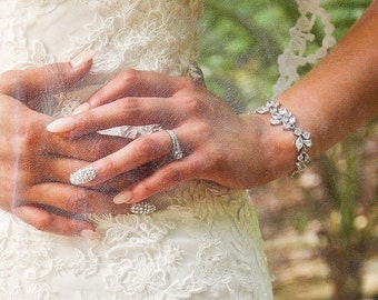 Crystal Bracelet, Cubic Zirconia Bracelet, Silver or Gold Crystal Wedding Bracelet - ADARA