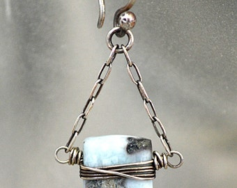 FREE SHIPPING---Baby Blue Earthy Gray Larimar Bead Pillow Dangle Earrings---Sterling Silver---Creations by Sandy