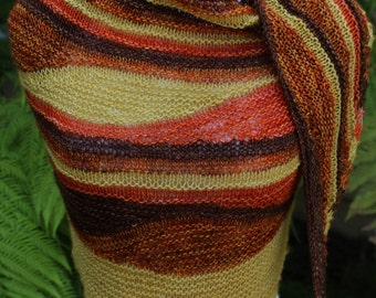Gold Brown Orange and Terra Cotta Harvest Color Waves Triangular Pure Merino Wool Hand Knitted Shawl or Shawlette