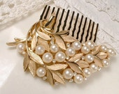 Gold Leaf Pearl Rhinestone Bridal Hair Comb, Vintage TRIFARI Brooch Brushed Rose Gold Autumn Wedding Headpiece, Hair piece Rustic Country
