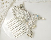 Rhinestone Bird Bridal Hair Comb, Silver Pave Clear Crystal Hummingbird Vintage Hairpiece, Something Blue Old Wedding Headpiece Accessory