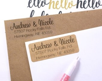 Custom address STAMP or LABELS - with modern calligraphy & print font - 2 5/8 x 1 custom labels, rubber stamp