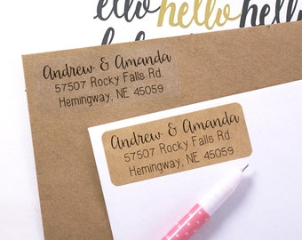 Custom rubber STAMP or LABELS with modern calligraphy & print font - 2 5/8 x 1 custom address labels