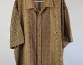 RESERVED RESERVED Vintage Copper Brown Pattern Casual Dress Shirt - Mens Size XXL