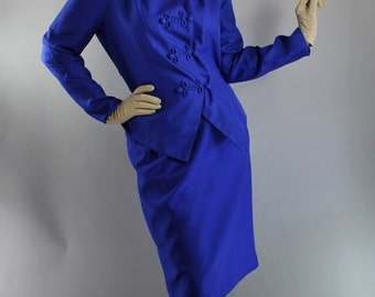 Vintage 80s does 50s Womens Royal Blue Silk Suit // Wedding Guest Suit // Mother of the Bride