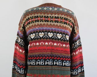 SALE - Vintage 90s Womens Brown Multicolored Nordic Style Cotton Teacher Cardigan Sweater