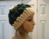 custom order for ms. dulaney:KNITTED WINTER HAT Unisex, beige & green wool heather bulky hat, very warm , cable stitch, one size fits all.