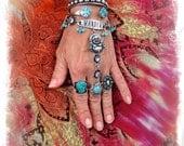 Buddha Hand Harness WANDER Ring Bracelet Happy Guru Tribal Silver Rhinestone Flower Message Inspiration jewelry Boho chic Gypsy fun GPyoga