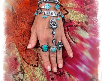 Buddha Hand Harness WANDER Ring Bracelet Happy Guru Tribal Silver Rhinestone Flower Message Inspiration jewelry Boho chic Gypsy fun GPyoga