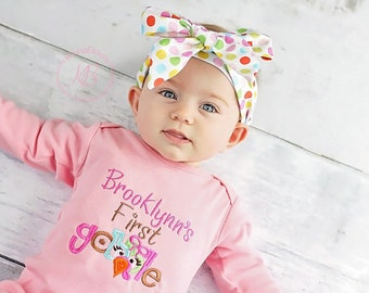 Baby's First Thanksgiving Outfit: Personalized First Gobble Shirt - Girl -Pink - Fabric Bow Headband - My 1st Turkey Day