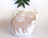 Bison Shaped Animal Pillow. Buffalo Pillow. Hand Woodblock Printed. Made to Order. Choose Your Colors.