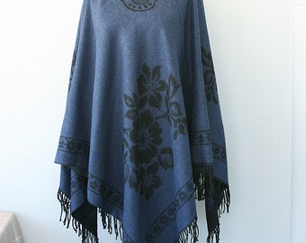 Bohemian poncho Autumn fall fashion Boho chic poncho Navy blue and black Native cape Women clothings Hippie outerwear Winter poncho