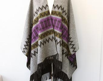 Fringe poncho Autumn fall accessories Long poncho Southwestern Western Winter wrap Blanket poncho Native clothing Large shawl Gray purple