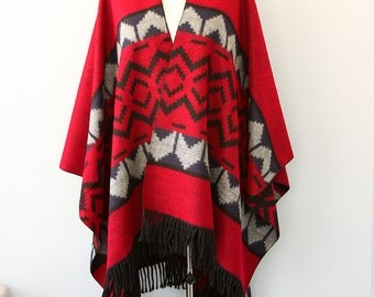 Red cape Reversible winter poncho Blanket wrap Autumn fall fashion Long fringe poncho Winter outerwear Boho chic Bohemian Modern elegant