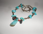 Hold 4 Hine-Turquoise & Sterling Bench Beads Tribal Navajo Dead Pawn Pow Wow Necklace Navajo Vintage Earthy Chic