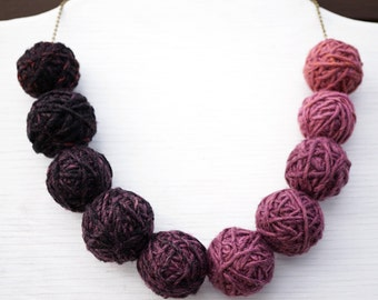 Summer Party Gift Kitten Necklace Yarn Necklace Purple Ombre Thread Ball Necklace Bronze Chain with 10 Big Balls Earthy Colors Bib Necklace