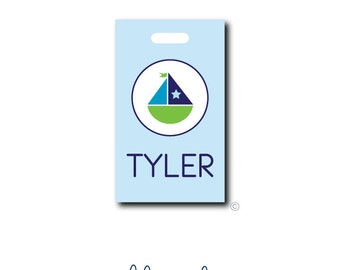 Personalized Sailboat Bag Tag - Sailboat Luggage Tag - Custom Tag - Monogrammed Sailboat Tag