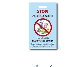 Food Allergy...Personalized Luggage Bag Tag
