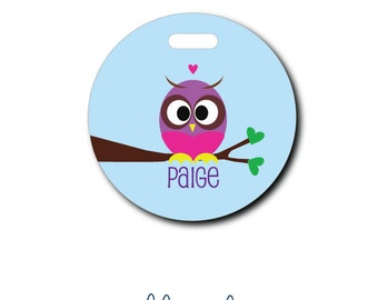 Owl on a Limb....Personalized Luggage Bag Tag