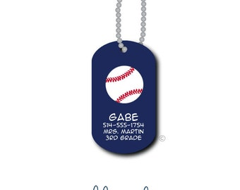Baseball...Personalized Mini Bag Tag Lunch Box Tag Zipper Pull