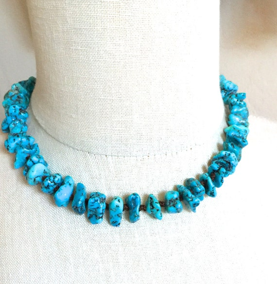 Kingman Turquoise Choker Silk Double Knotted Handmade Jewelry