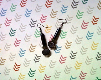 Black and Gray Raku Earrings (2265)