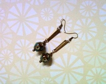 Rustic Brown and Aqua Blue Earrings (2270)