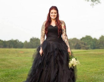 Black Wedding Dress with Tulle Custom Made to your Measurements Sweetheart Neckline