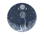 Wolf Art // Nursery Decor // Fine art print // Starlight Wolf Song