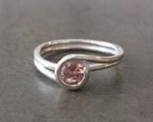 Silver Twist Ring - Pink Tourmaline - Size 8