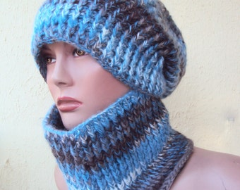Crochet Hat and Cowl Set Neck Warmer Women Men Wool Scarf Set Slouchy Hat Chunky Cowl
