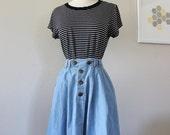 Chambray Skirt, Denim Skirt, High Waisted Skirt, Blue Skirt