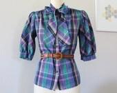 Plaid Shirt, Plaid Blouse, Bow Collar