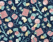 Quarter Yard, Blue Pink Sewing Notions Print, Quilting Cotton, Fabric Traditions, Tan Dark Blue, 44 x 12, B44