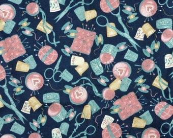 Blue Pink Sewing Notions Print, Quilting Cotton, Fabric Traditions, Tan Dark Blue, half yard, B18