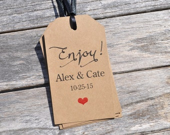 Wedding Favor Tags Enjoy, Baby Shower Thank You Tags, Rustic Kraft Favor Tag, Bridal Shower, Birthday Favor Tags - Set of 12