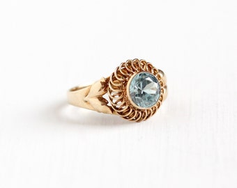 Sale - Vintage 10k Rose Gold Zircon Ring - Size 5 Art Deco 1940s Light Blue Round Gemstone Fine Leaf and Flower Motif Jewelry, Church & Co.