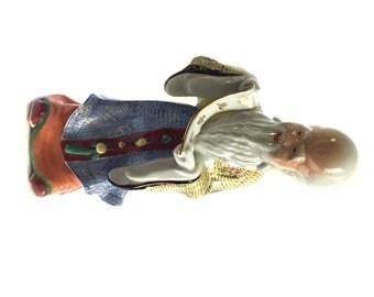 Porcelain Statue Figurine Chinese Taoist Shou Lao with Scroll Shou xing Deity of Longevity