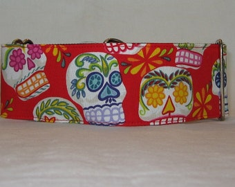 Day of the Dead in Red Martingale Dog Collar -  2 Inch - colorful flower blue orange mask skulls