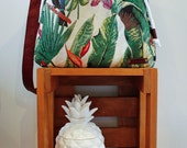 NZFINCH tropical bucket bag, leather handle with brass and rope detail, nappy bag, diaper bag, baby bag