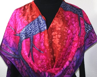 Silk Scarf Handpainted. Purple, Berry Red, Copper Hand Painted Shawl. Handmade Silk Wrap FAIRYTALE LANDS. Large 14x72. Birthday, Gift Mother