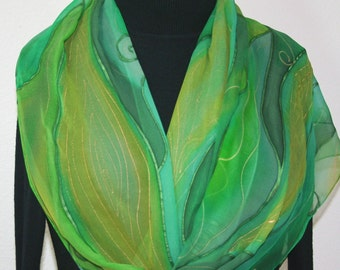 Silk Scarf Hand Painted Chiffon Silk Shawl Green Teal Emerald Silk Scarf GREEN FAIRY  ExtraLong 11x90 Birthday Gift Scarf Gift-Wrapped Scarf
