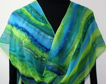 Silk Scarf Hand Painted Silk Shawl Turquoise Green Hand Dyed Silk Scarf MOUNTAIN STREAMS  Size 11x60 Birthday Gift Scarf Gift-Wrapped Scarf