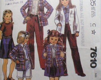 Krizia Girl's/Preteen's Sewing Pattern - Cardigan Jacket, Pleated Skirt, Cuffed Pants or Shorts - McCall's 7610 - Size 10, Bust 28 1/2