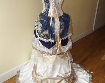 Custom theme / Steampunk Victorian wedding dress / prom with corset, bustle & train MADE TO ORDER/ Measure