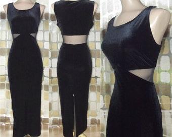 Vintage 90s Dress | 1990s Black Dress | Mesh Cutout Waist | Stretch Velvet | Futuristic Gown | Avant-Garde | Size 8 M/L