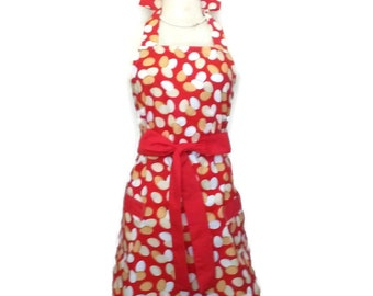 Classic Retro Apron for women,  Red Ties, Red apron with matching pockets, bridal shower gift, mother's day gift, kitchen apron,  chef apron